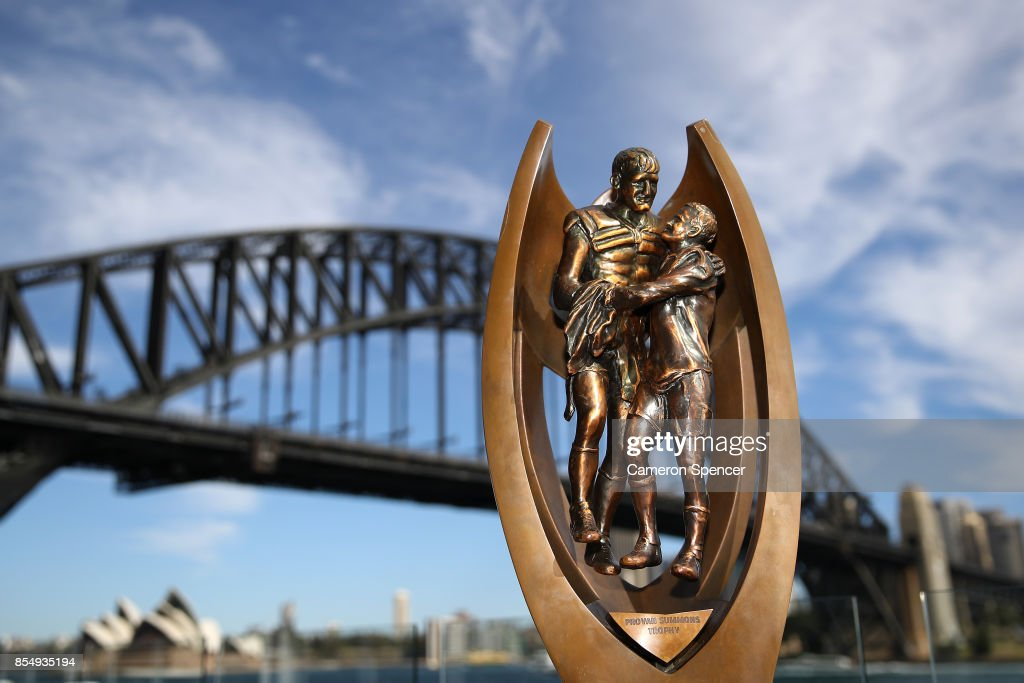 The Provan Summons trophy is displayed during the NRL Grand Final press conference at Luna Park on September 28, 2017 in Sydney, Australia.