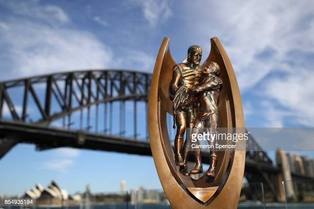 The Provan Summons trophy is displayed during the NRL Grand Final press conference at Luna Park on September 28 2017 in Sydney Australia