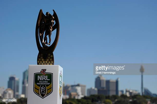 The ProvansSummons Trophy is pictured during the 2015 NRL Finals series launch at Sydney Cricket Ground on September 7 2015 in Sydney Australia