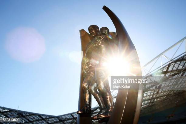The ProvanSummons Trophy is seen during the 2017 NRL Finals Series Launch at ANZ Stadium on September 4 2017 in Sydney Australia