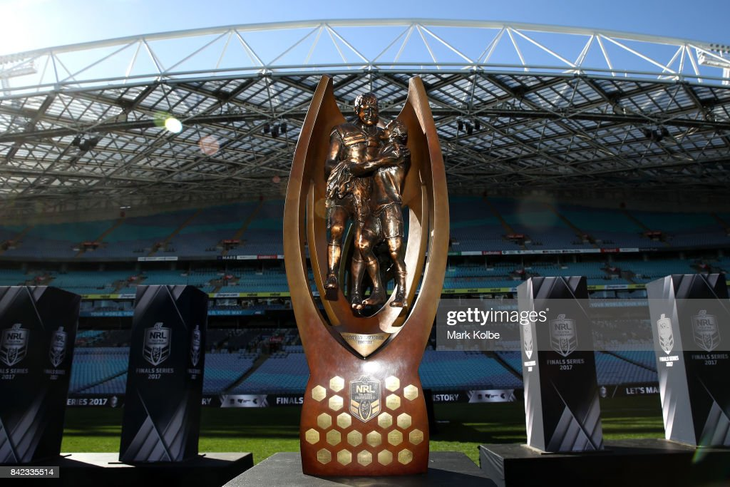 The Provan-Summons Trophy is seen on display during the 2017 NRL Finals Series Launch at ANZ Stadium on September 4, 2017 in Sydney, Australia.