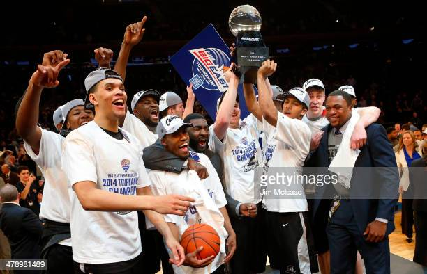 The Providence Friars celebrate with the trophy after defeating the Creighton Bluejays 65 to 58 to win the Championship game of the 2014 Men's Big...