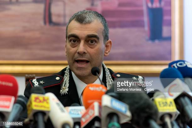 The provincial commander of the Carabinieri of Rome, General of the Carabinieri Francesco Gargano give a press conference on the investigation of the...