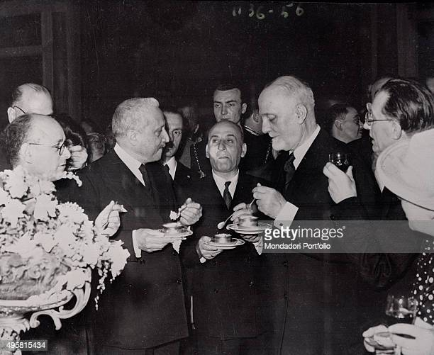 The provisional Head of State of Italy Enrico De Nicola the President of the Council of Ministers of the Italian Republic Alcide De Gasperi and of...