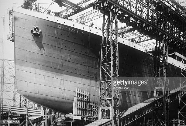 The prow of the Titanic under construction at Harland and Wolff shipyard in Belfast Ireland The RMS Titanic hit an iceberg and sank on her maiden...