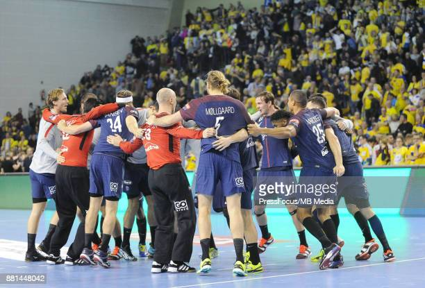 The PSG team celebrate during the EHF Men's Champions League Game between PGE Vive Kielce and PSG Handball on November 26 2017 in Kielce Poland