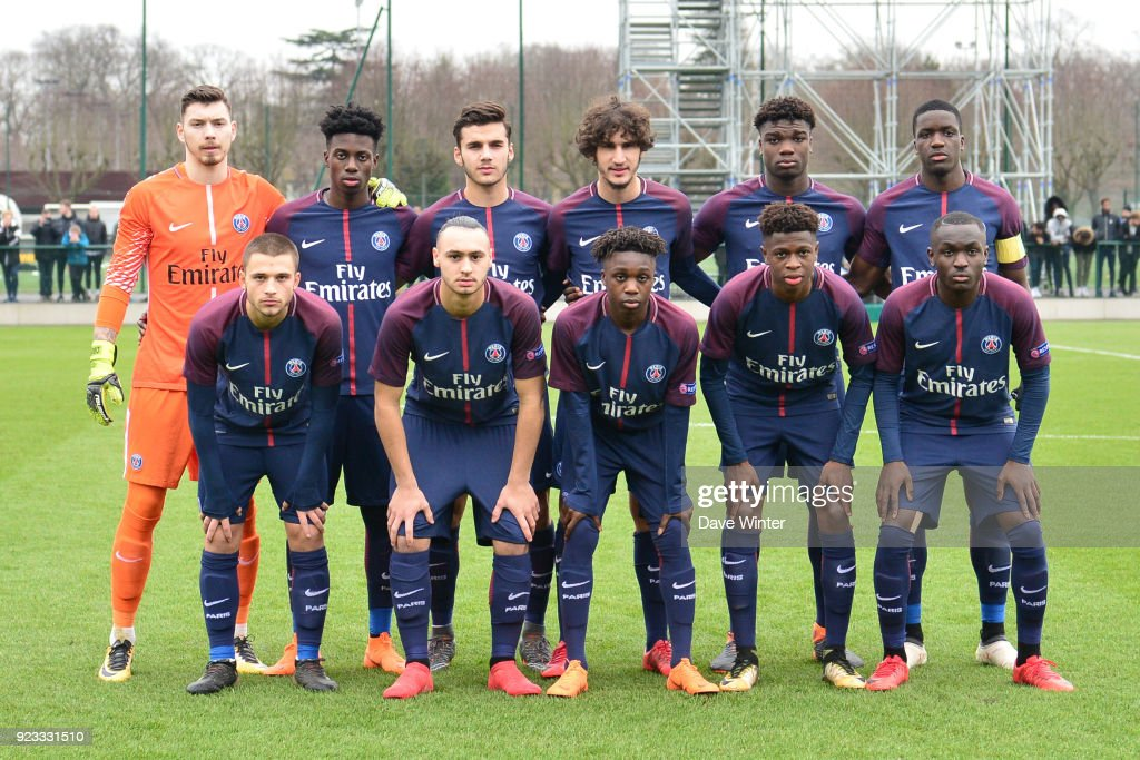 The PSG team group (back row, left to right: Sebastien Cibois, Timothy Weah, Metehan Guclu, Yacine Adli, Loic Mbe Soh, Stanley Nsoki; front row, left to right: Lorenzo Callegari, Azzeddine Toufiqui, Arthur Zagre, Romaric Yapi, Arnaud Nkodi Luzayadio) before the UEFA Youth League match (round of 16) between Paris Saint Germain (PSG) and FC Barcelona, on February 20, 2018 in Saint Germain en Laye, France.