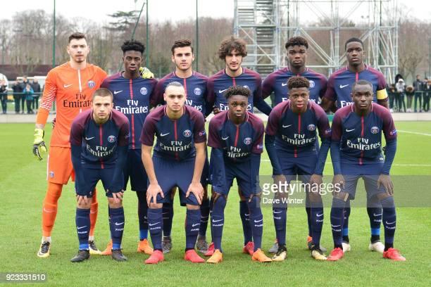 The PSG team group before the UEFA Youth League match between Paris Saint Germain and FC Barcelona on February 20 2018 in Saint Germain en Laye France