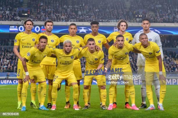 The PSG team group Edinson Cavani Thiago Motta Marquinhos Presnel Kimpembe Adrien Rabiot and Alphonse Areola Neymar Jr Daniel Alves Marco Verratti...