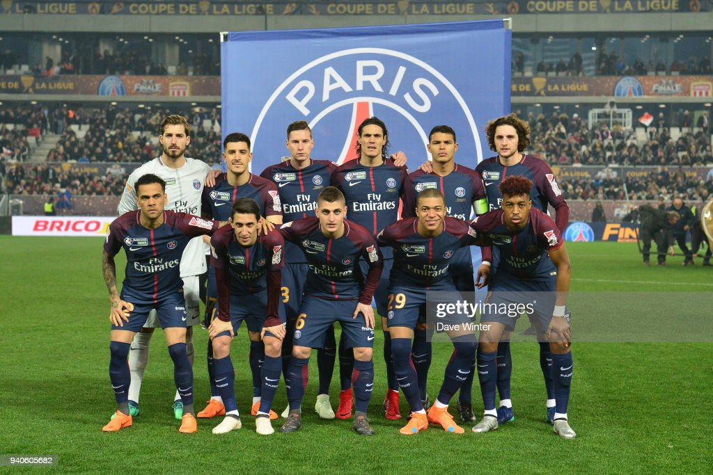 The PSG team line up before the Final of the French League ...