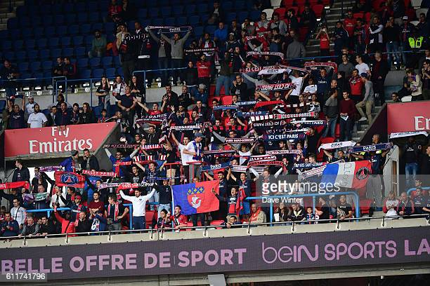 The PSG Ultras group of supporters during the French Ligue 1 match between Paris SaintGermain and FC Girondins de Bordeaux at Parc des Princes on...