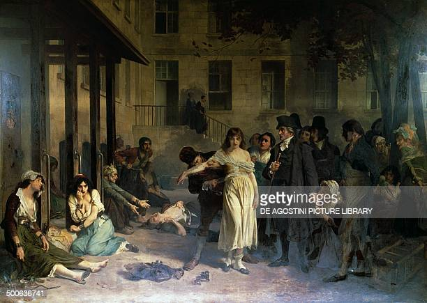 The psychiatrist Philippe Pinel releasing the insane from their chains at the Salpetriere asylum in Paris in 1795 painting by Tony RobertFleury