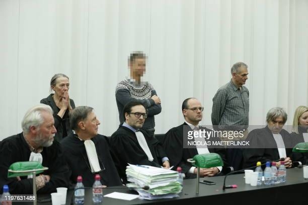 The psychiatrist, the family doctor and the executing doctor and their lawyers pictured during a session of the assizes trial of three doctors before...