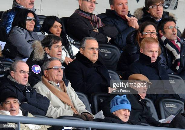 The ptresident of Lazio Claudio Lotito with Igli Tare looks on during the Serie A match between Udinese and Lazio at Stadio Friuli on January 10 2010...