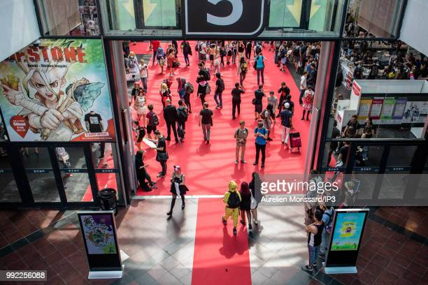The public arrives at the 2018 Japan Expo exhibition on July 5, 2018 in Paris, France. The 19th edition of Japan Expo, dedicated to manga, Japanese...