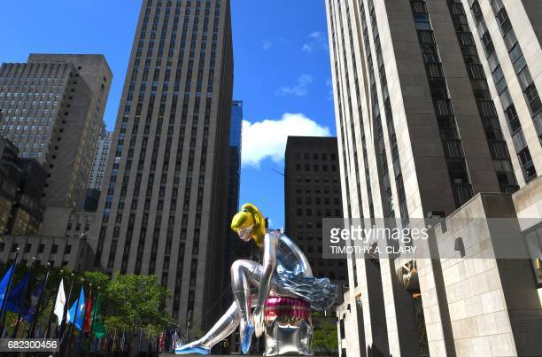 The public art exhibition of a 45foot tall inflatable nylon sculpture depicting a seated ballerina from artist Jeff Koons' Antiquity series titled...