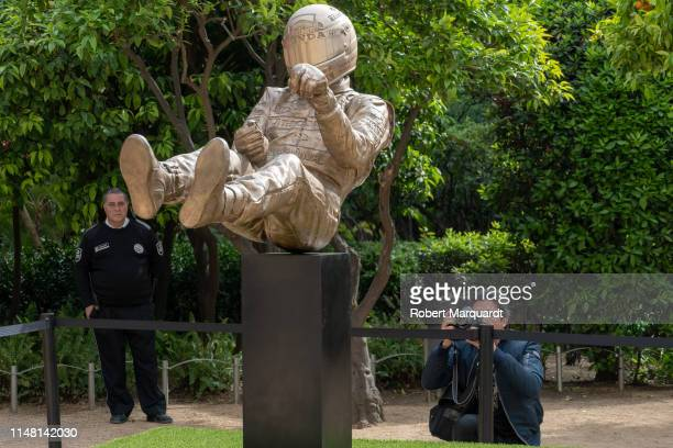 The public attends a Ayrton Senna's sculpture tribute inauguration on the 25th anniversary of his death on May 08 2019 in Barcelona Spain