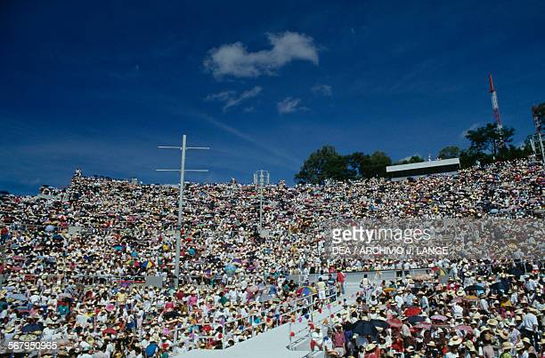 The public during the celebrations at the Guelaguetza festival Oaxaca Mexico