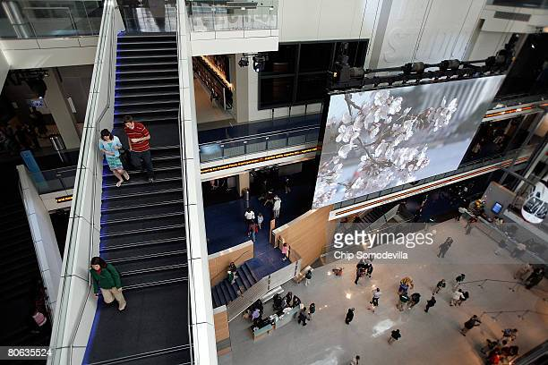 "The public gets its first look at the ""Great Hall of News"" at The Newseum during its grand opening April 11, 2008 in Washington, DC. The..."