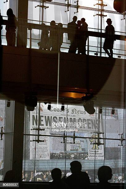 The public gets its first look at the six-level, glass, steel and stone Newseum during its grand opening April 11, 2008 in Washington, DC. The...