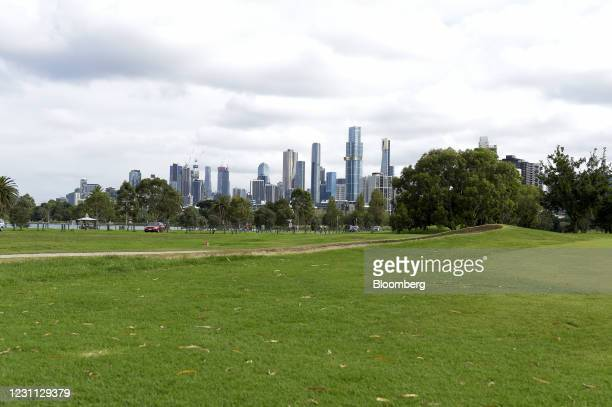 The public golf course in Albert Park is deserted at the start of a five day lockdown in Melbourne, Australia, on Saturday, Feb. 13, 2021. The...