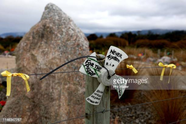 The public memorial at the start of the access road to the Pike River Mine is pictured on May 02 2019 in Greymouth New Zealand 29 men were trapped...