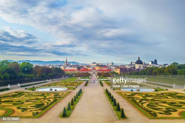 the public park belvedere in vienna - vienna austria stock pictures, royalty-free photos & images