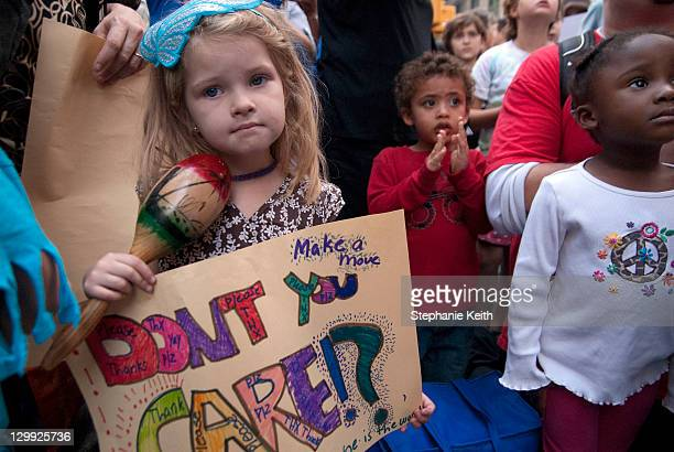 The public school children of NYC converge on the Occupy Wall Street protest in Manhattan's Zuccotti Park in NY, NY on October 10, 2011 as part of an...
