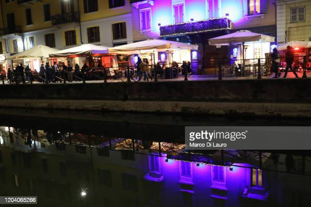 The pubs in the Navigli neighborhood which usually attracts hundreds of customers are seen almost empty due to the fear of the residents for the...