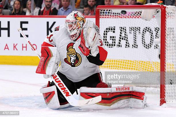 The puck goes past Andrew Hammond of the Ottawa Senators on a goal by PK Subban of the Montreal Canadiens in Game Two of the Eastern Conference...