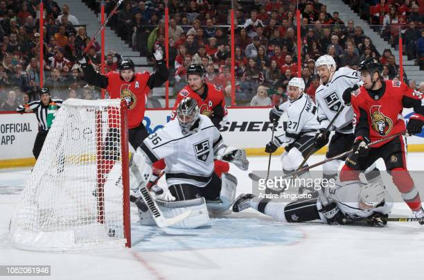 The puck trickles over the goal line behind Jack Campbell of the Los Angeles Kings for a first period goal by Mark Stone of the Ottawa Senators as...