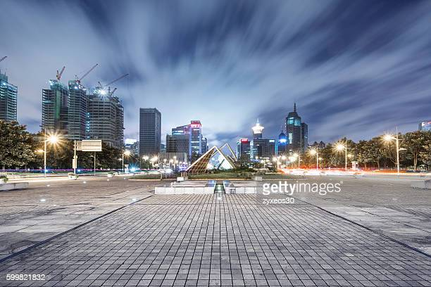 The pudong district of Shanghai's bustling century square at night