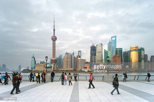 The Pudong skyline in Shanghai.