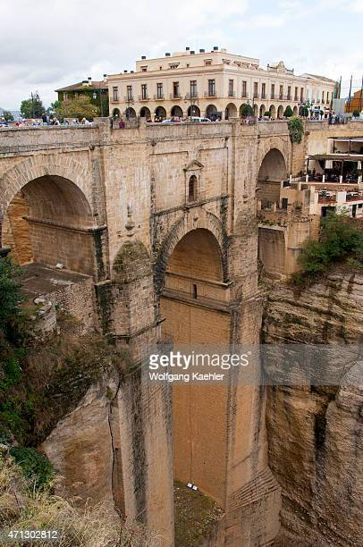 The Puente Nuevo a bridge over the El Tajo gorge and Rio Guadalevín spanning the gorge in the historic city of Ronda in the Spanish province of...