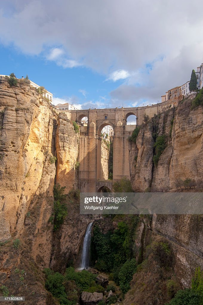 The Puente Nuevo, a bridge over the El Tajo gorge and Rio Guadalevín, spanning the gorge in the historic city of Ronda in the Spanish province of Malaga in Andalusia, Spain.