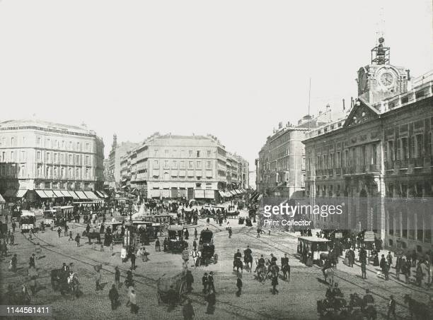 The Puerta del Sol, Madrid, Spain, 1895. Large square in the centre of Spain's capital. On the right is the Royal House of the Post Office, built in...