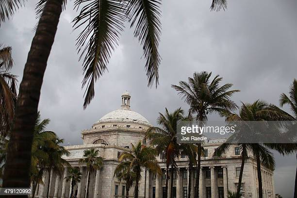 The Puerto Rican Capitol building is seen as the island's residents deal with the government's $72 billion debt on July 1 2015 in San Juan Puerto...