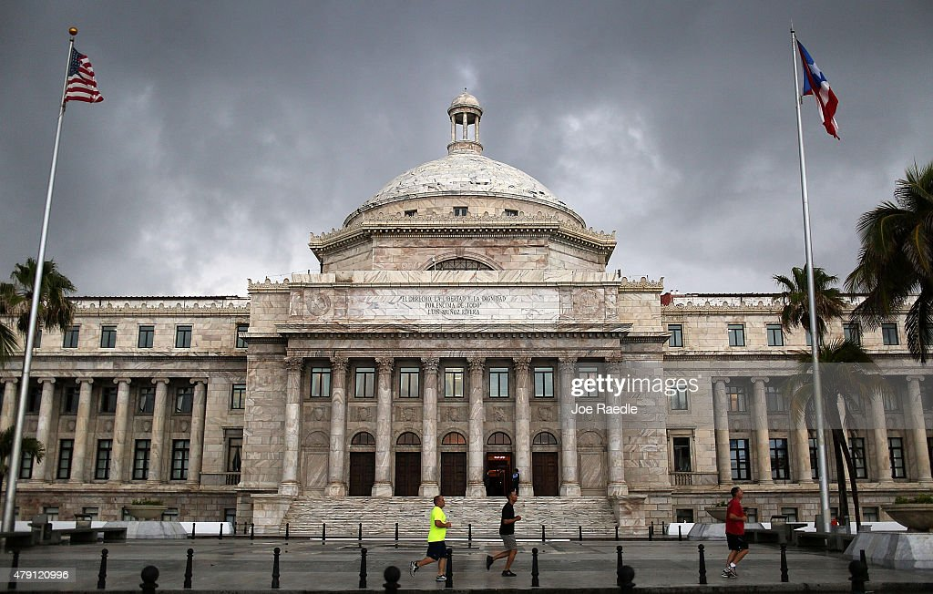 The Puerto Rican Capitol building is seen as the island's residents deal with the government's $72 billion debt on July 1, 2015 in San Juan, Puerto Rico. Governor of Puerto Rico Alejandro García Padilla said in a speech recently that the people of Puerto Rico will have to make sacrifices and share the responsibilities to help pull the island out of debt.