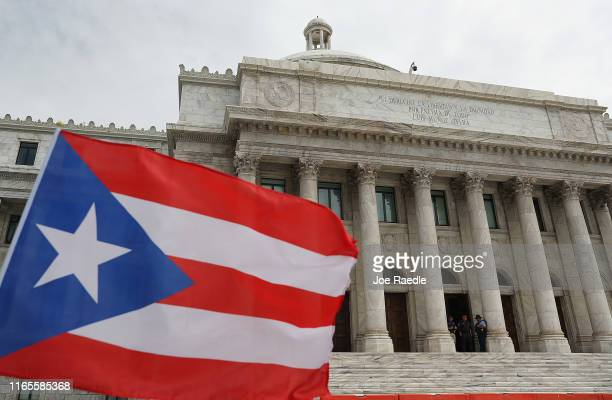 The Puerto Rican Capitol building is seen where legislators are debating who will replace Ricardo Rossello as the Governor of Puerto Rico on August 1...
