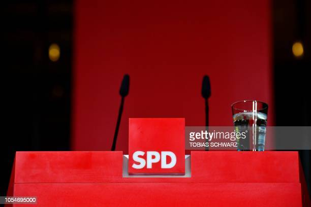 The pulpit is empty after the leader of Germany's social democratic SPD party gave a statement in reaction to the results of the state elections in...