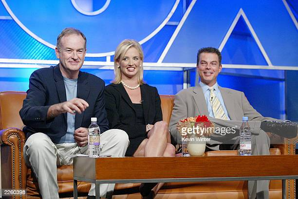 The Pulse correspondents Bill O'Reilly and Laurie Dhue with The Pulse host Shepard Smith at the FOX 2002 Summer TCA Tour held at the Ritz Carlton...