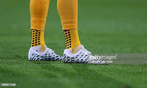 The Puma evoPOWER Vigor Camo boots of Olivier Giroud of Arsenal during the Premier League match between AFC Bournemouth and Arsenal at Vitality...