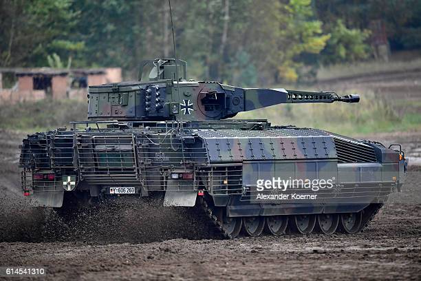 The Puma light tank participates in the 'Land Operations' military exercises during a media day at the Bundeswehr training grounds on October 14 2016...