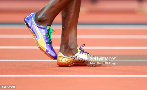 The Puma running shoes of Jamaica's Usain Bolt before the Men's 100m SemiFinal during day two of the 2017 IAAF World Championships at the London...