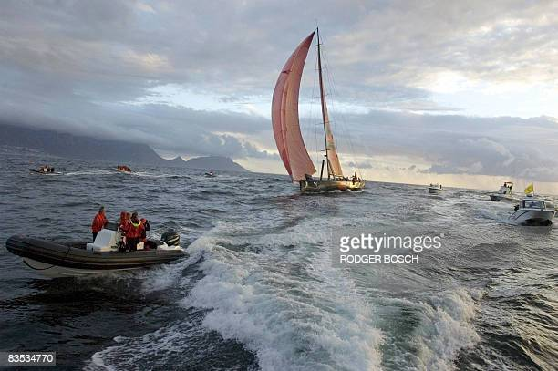 The Puma sailboat is pictured among small motor boats as its sails during the first leg of the Volvo Ocean Race from Alicante Spain to Cape Town...