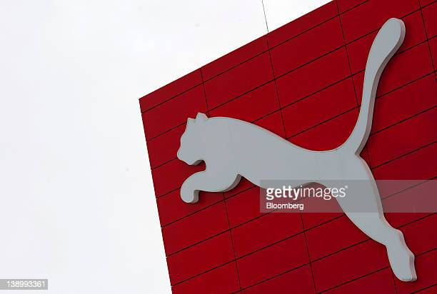The Puma SE logo sits on the side of the company's headquarters in Herzogenaurach Germany on Wednesday Feb 15 2012 Puma is targeting a 'high...