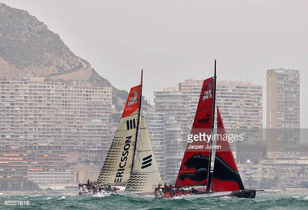 The Puma Team sails alongside the Ericsson Racing Team Ericsson 4 during the start of the first leg of the Volvo Ocean Race from Alicante to Cape...