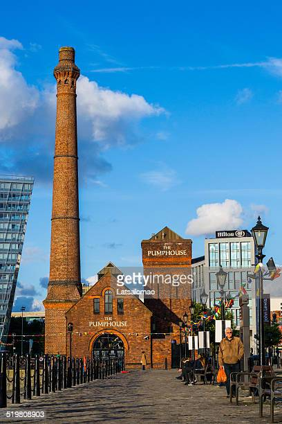 The Pumphouse view Liverpool with senior walking