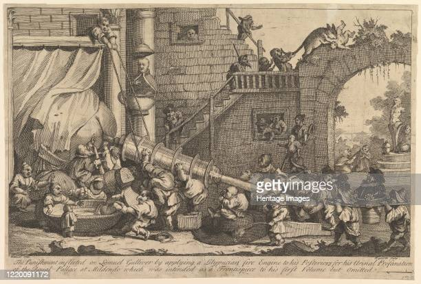 The Punishment Inflicted on Lemuel Gulliver, December 1726. Artist William Hogarth.