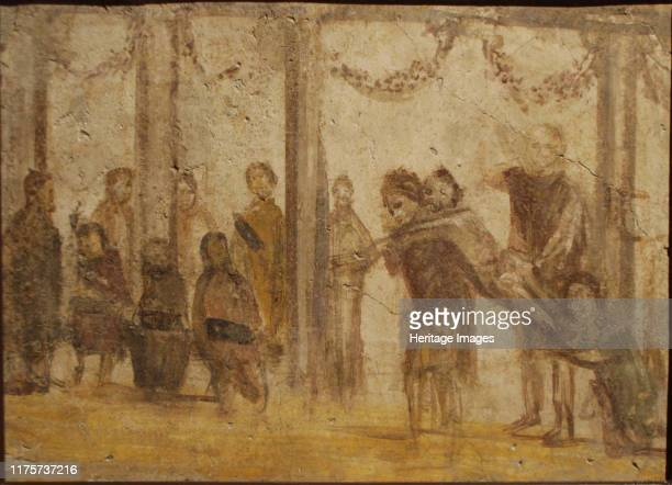 The Punishment of a Pupil Fresco from the house of Julia Felix 1st century Found in the Collection of Museo Archeologico Nazionale di Napoli Artist...